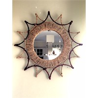 Alldeco Ferforje & Su Yosunu Dekoratif Ayna Yuvarlak 54 Cm