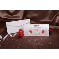 Karikatürlü Kalpli Çekmeli Düğün Davetiye 100 Adet Zarflı