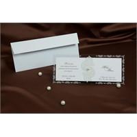 Asetatlı Simli İnci Süslemeli Nikah Davetiye 100 Adet Zarflı