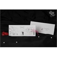 Kurdelalı Kara Kalem Tasarımlı Nikah Davetiye 100 Adet Zarfsız
