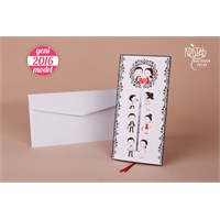 Karikatürlü Gelin Damatlı Düğün Davetiye 100 Adet Zarflı