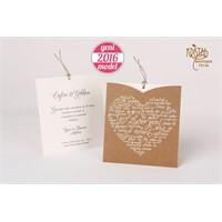 Çekmeli Kalpli Modern Tasarım Davetiye 100 Adet Zarfsız