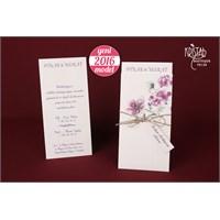 Hasır İp Süslemeli Çiçekli Düğün Davetiye 100 Adet Zarfsız