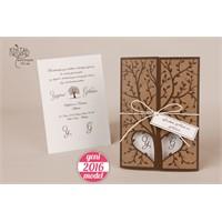 Ağaç Figürlü Kalpli Hasır İpli Nikah Davetiye 100 Adet Zarfsız