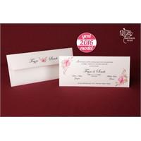 Çiçekli Sade Tasarım Düğün Davetiye 100 Adet Zarflı