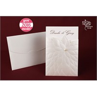 Kabartma Çiçek Motifli İncili Düğün Davetiye 100 Adet Zarflı