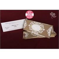 Altın Yaldızlı Kadife Kaplı Şık Düğün Davetiye 100 Adet Zarflı