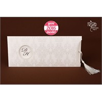 Kabartma Motiflerle Süslü Düğün Davetiye 100 Adet Zarfsız