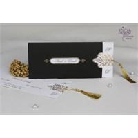 Yaldız Süslü Siyah DavetiyeKaplı Şık Düğün Davetiye 100 Adet Zarfsız