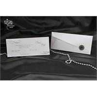 Yaldız Süslemeli Siyah Mühürlü Düğün Davetiye 100 Adet Zarflı