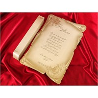 Kutulu Ferman Düğün Davetiye 100 Adet Zarflı