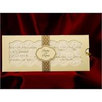 Dantelli Simli Düğün Davetiye 100 Adet Zarfsız