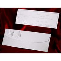Kelebekli Düğün Davetiye 100 Adet Zarfsız