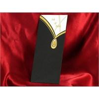 Çekmeli Siyah Düğün Davetiye 100 Adet Zarfsız