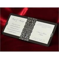 Gümüş Yaldızlı Düğün Davetiye 100 Adet Zarflı