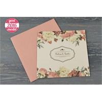 Bahar Çiçekleriyle Süslü Retro Düğün Davetiye 100 Adet Zarflı