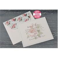 Çiçek Motifli Zarfı İle Retro Nikah Davetiye 100 Adet Zarflı
