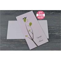 Kuşlar Ve Ağaç Motifiyle Süslü Düğün Davetiye 100 Adet Zarflı