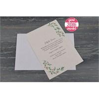 Zeytin Ağacı Temalı Ucuz Sade Düğün Davetiye 100 Adet Zarflı