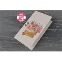 Çiçeklere Süslü Ucuz Düğün Davetiye 100 Adet Zarflı