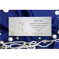 Çiçekli Sade Düğün Davetiye 100 Adet Zarflı