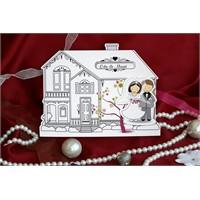 Karikatürlü Ev Temalı Düğün Davetiye 100 Adet Zarflı