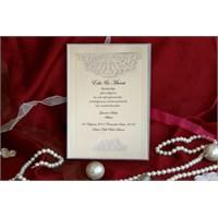 Simli Sade Düğün Davetiye 100 Adet Zarflı