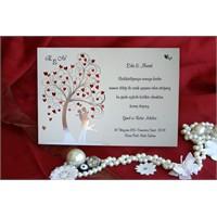 Ağaçlı Düğün Davetiye 100 Adet Zarflı