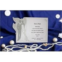 Gelin Damat Figürlü Düğün Davetiye 100 Adet Zarflı