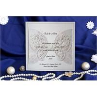 Kalpli Kelebekli Düğün Davetiye 100 Adet Zarflı