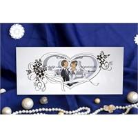 Gelin Damat Düğün Davetiye 100 Adet Zarflı