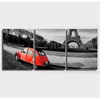 Tictac 3 Parça Kanvas Tablo - Kırmızı Araba Ve Eyfel