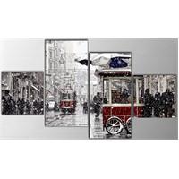 Tictac 4 Parça Kanvas Tablo - İstiklal Caddesi
