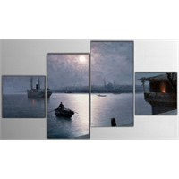 Tictac 4 Parça Kanvas Tablo - Eski İstanbul