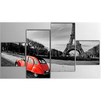 Tictac 4 Parça Kanvas Tablo - Eyfel Ve Kırmızı Araba