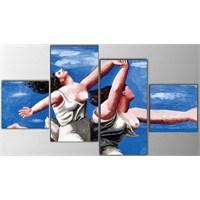 Tictac 4 Parça Kanvas Tablo - Picasso Koşan Kadınlar