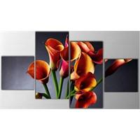 Tictac 4 Parça Kanvas Tablo - Çiçekler
