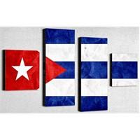Tictac 4 Parça Kanvas Tablo - Küba Bayrağı