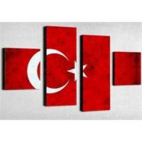 Tictac 4 Parça Kanvas Tablo - Türk Bayrağı