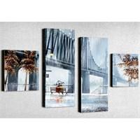 Tictac 4 Parça Kanvas Tablo - Brooklyn Köprüsü