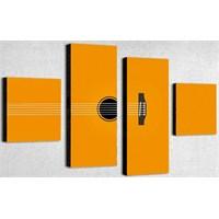 Tictac 4 Parça Kanvas Tablo - Sarı Gitar