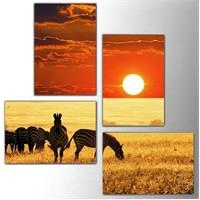 Tictac 4 Parça Kanvas Tablo - Afrika
