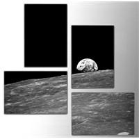 Tictac 4 Parça Kanvas Tablo - Ay Ve Dünya