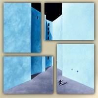 Tictac 4 Parça Kanvas Tablo - Mavi Duvarlar