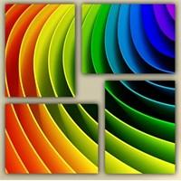 Tictac 4 Parça Kanvas Tablo - Renkli Çizgiler