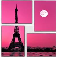 Tictac 4 Parça Kanvas Tablo - Mor Gökyüzü Ve Paris