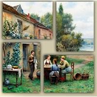 Tictac 4 Parça Kanvas Tablo - Bahçede Çay