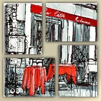 Tictac 4 Parça Kanvas Tablo - Kırmızı Cafe