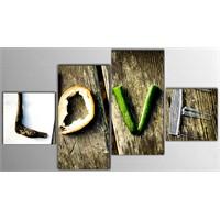 Tictac 4 Parça Kanvas Tablo - Love