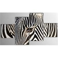 Tictac 4 Parça Kanvas Tablo - Zebra